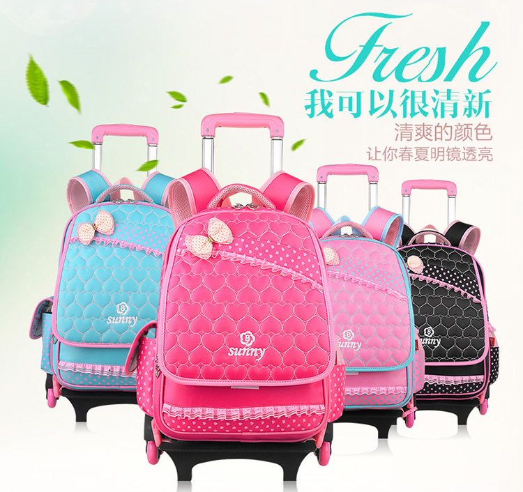 Children-Kids-School-Bags-Girls-Wheeled-rolling-Backpacks-Mochilas ...