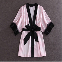 Europe And America Fashion Pink Striped Robes High Quality Women's Night Gown Sexy Black Lace Lingerie Sleepwear One Size(China (Mainland))