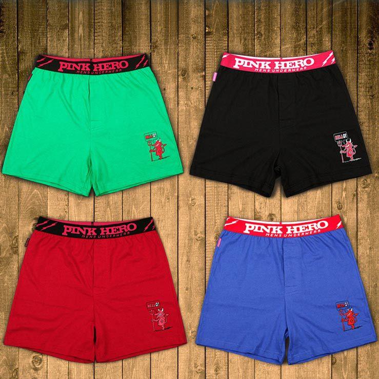 Men's home trunks Pink Hero solid color boxer shorts mens cotton sleepwear loose sleep bottoms mam M L XL XXL Size pajama