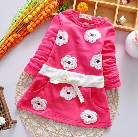 retail spring autumn sunflower girl clothing dress 100% cotton baby clothing baby girls dress Korean clothing(China (Mainland))