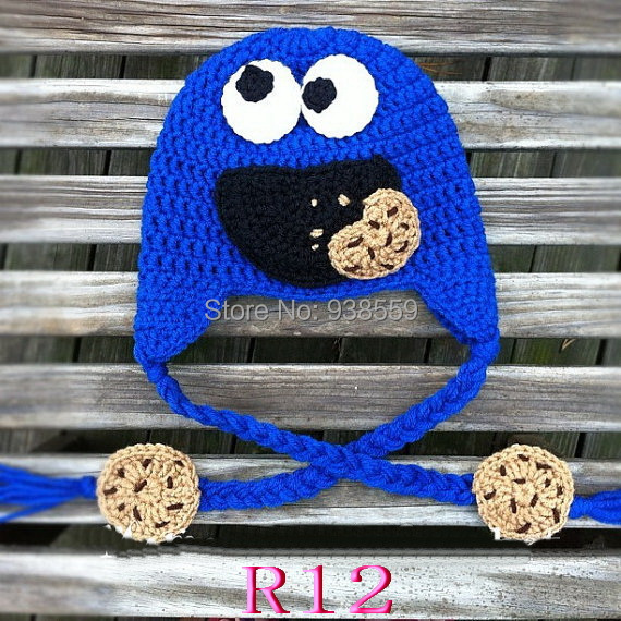 NEW hotspot Crocheted baby Hat Hand made Baby Blue Cookie Monster Earflap cap Free shipping