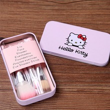HELLO KITTY mini brush kit pink 7pcs set Professional makeup brushes beauty maquiagem make up pincel maquiagem