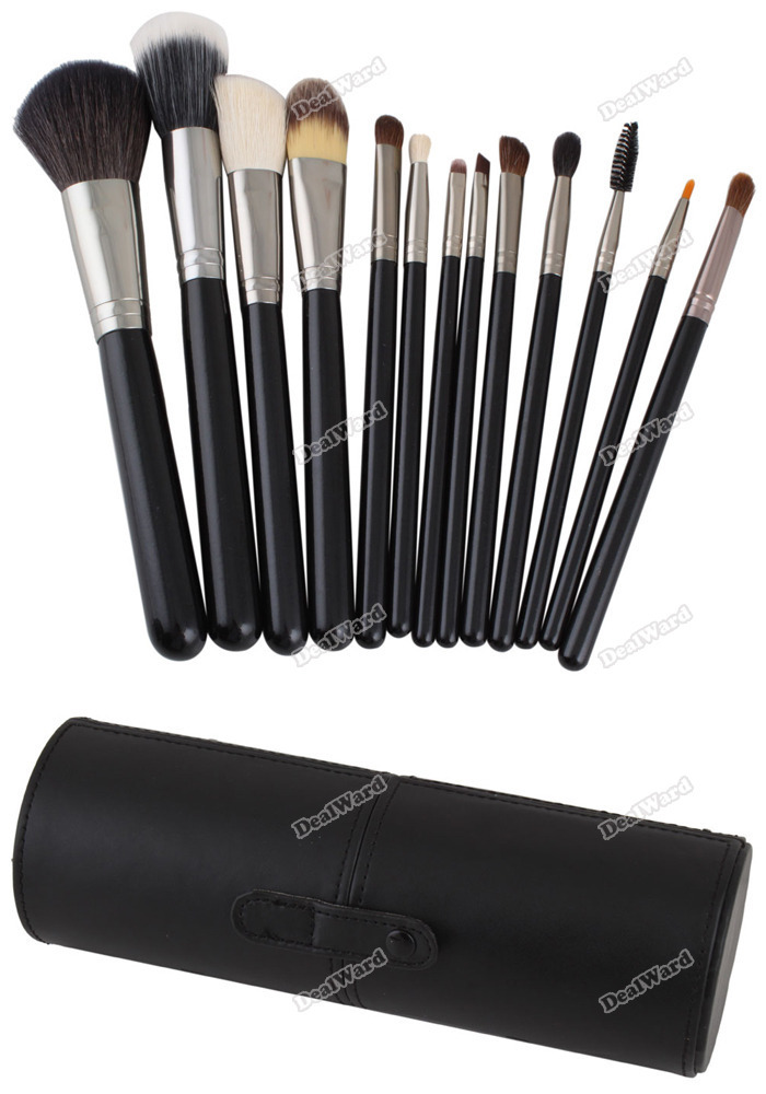 dealward Limited Sales! 13 PCS Black Powder Blush Goat Hair Makeup Brush Cosmetic Brushes Set With Case Top grade(China (Mainland))