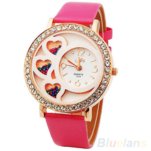 Fashion Women's Round Dial Analog Dress Watch with Crystals & Beads Decoration Rhinestone Rose Color