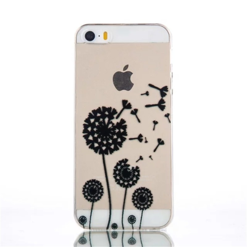 Brand New Black Floral Mandala Flower Elephant Ultra Slim Soft TPU Phone Cases Cover For iPhone 5 5G 5S 5C SE 6 6G 6S 6Plus 5.5