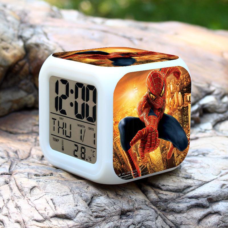 1pcs/set Alarm Clock Colorful Super Hero Spider-Man Action Figure Avengers PVC 8cm Anime Calendar Thermometer Digital Led(China (Mainland))