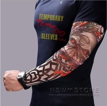5pcs Nylon Stretchy Temporary Tattoo Sleeves Arm Stockings Sunscreen Arm Warmers Fake Tattoo Free shipping P001