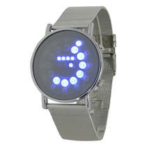 2016 hot mens sports blue&multi-led lights ball display silver mesh stainless steel band digital Week Date women wrist led watch