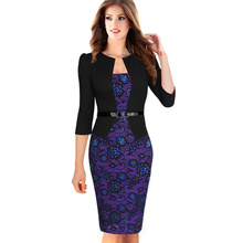 Plus 4XL Office Womens Elegant Faux Twinset Belted Tartan Floral Patchwork Wear to Work Business Pencil Sheath Bodycon Dress