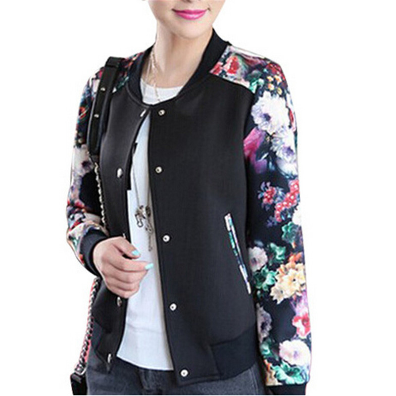 2015 Autumn Sport Jacket Women Thin Floral Print Flower ...