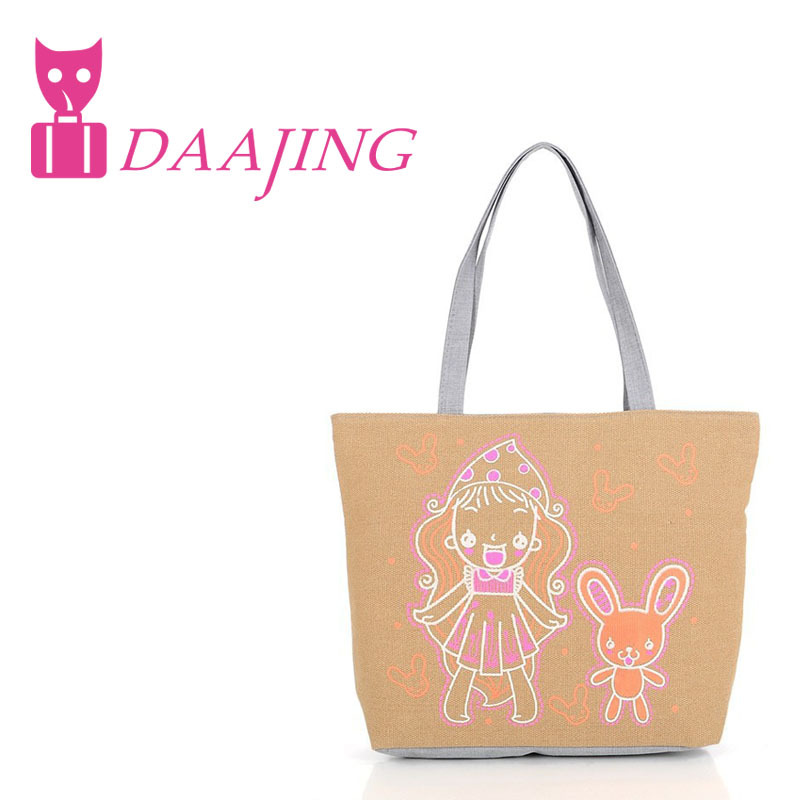 Charm in hands! Wholesale 2015 Cute Model Cartoon girl Pattern Women Handbag Canvas Bag Fashion Casual Ladies Handbags(China (Mainland))