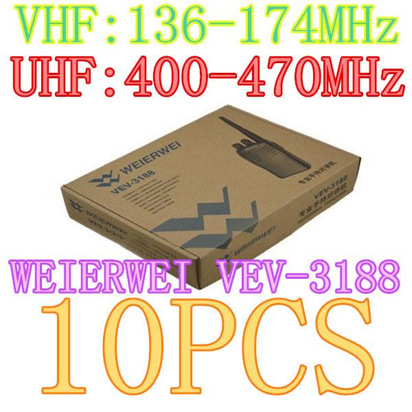 10pcs NEW WEIERWEI VEV-3188 Dual Band Two Way Ham Radio Transceiver VHF:136-174MHz/UHF:400-470MHz Walkie Talkie(China (Mainland))