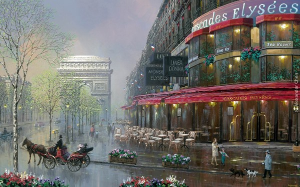 streetview cityscape Elysees Paris situations painting 4-Size Home Decoration Canvas Poster Print(China (Mainland))
