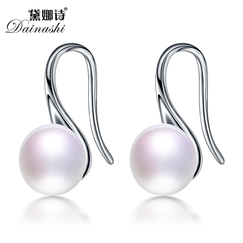 2017 new fashion Dainashi genuine natural freshwater pearl earrings for women party wedding black, white, pink, purple,gold(China (Mainland))