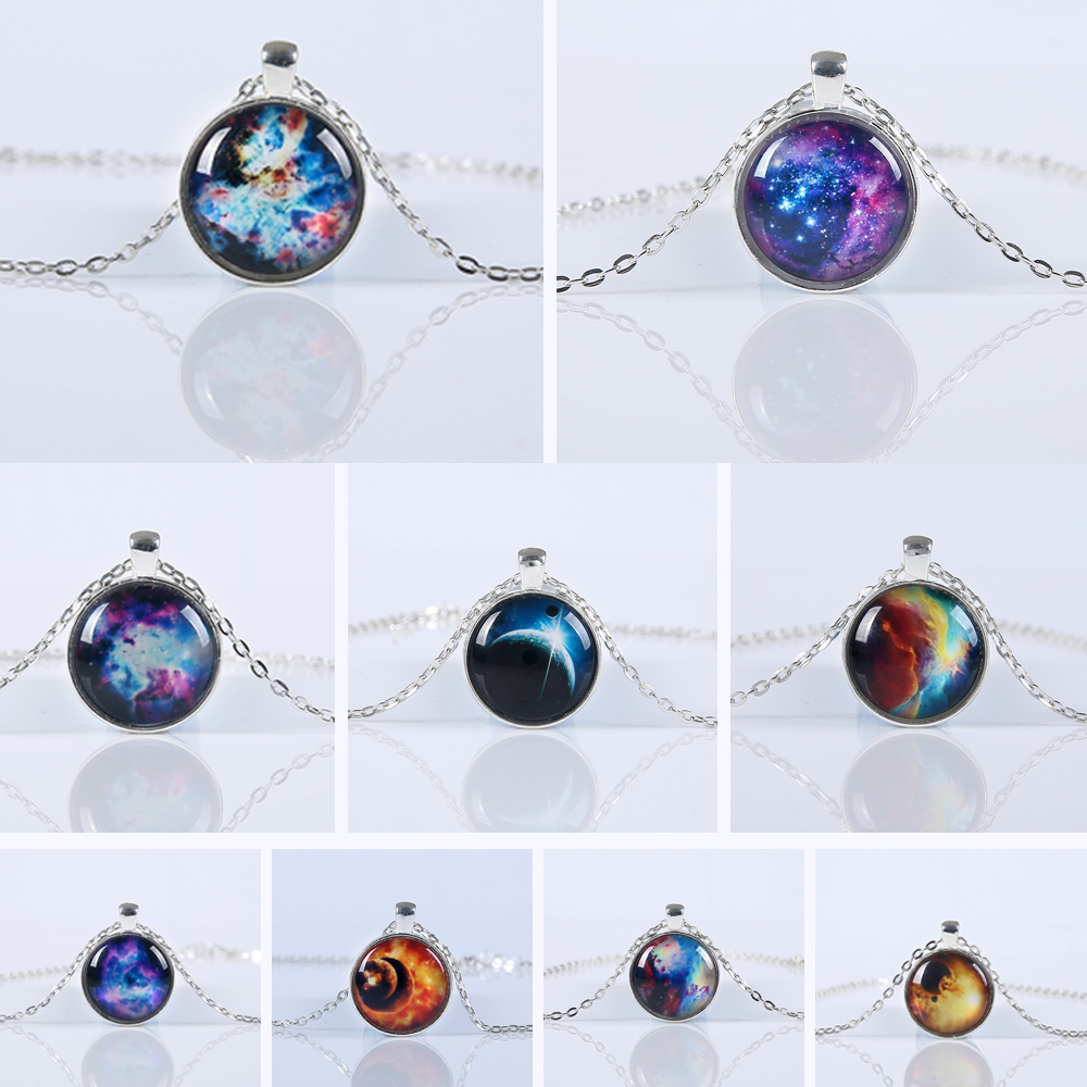 2016 New Hot sale vintage necklace galaxy glass pendant plated chain necklace wonderful gift free shipping