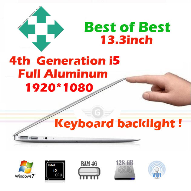 13.3 inch gaming laptop FULL HD computer notebook computer netbook ultrabook intel core i5 webcam with free shipping(China (Mainland))