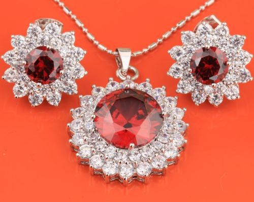 Details about GORGEOUS Red Garnet & White Topaz Silver Jewelry Set Earrings Pendant B8033(China (Mainland))
