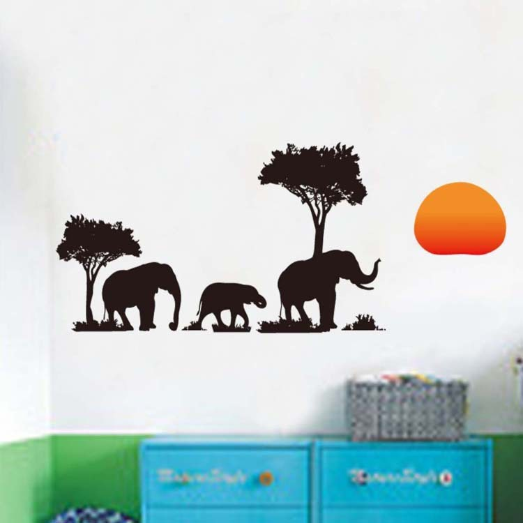 Vinyl Wall Stickers Elephants And Tree Home Decor Wall Decals For Kids