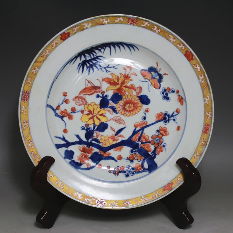 chinese porcelain Outline in gold Blue - white -red Color Flowers plate ((2 style) ) vintage home decor crafts cooking tools(China (Mainland))