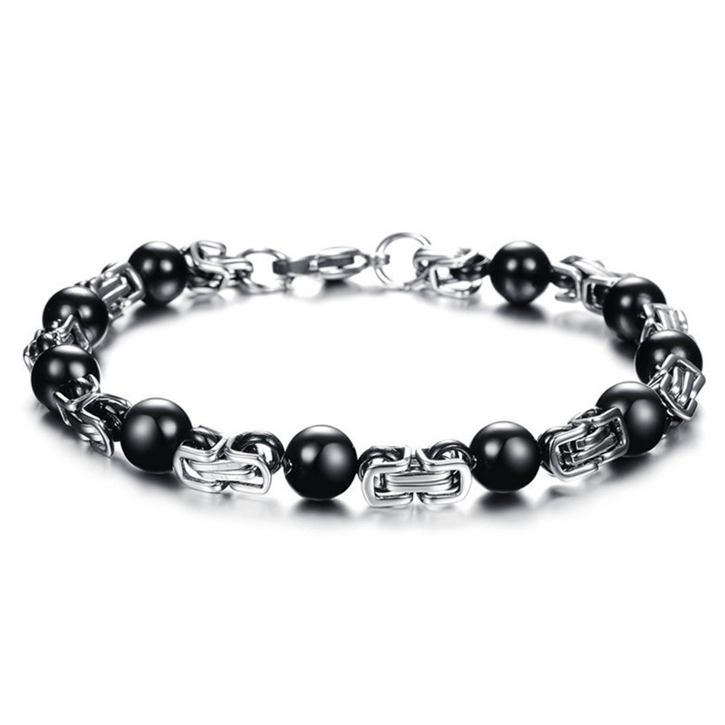 Punk Style Black Stainless Steel Bead Power Energy Hologram Bracelets Bangles For Men Fashion Jewelry GS666(China (Mainland))