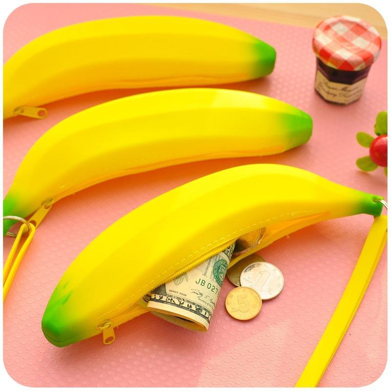 Cute Banana Coin Silicone Korean Student Purse Hand Wallet(China (Mainland))