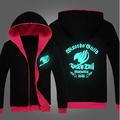 HOt sale Color noctilucent fleece Cartoon fairy tail union flag fluorescent zipper jacket seven pattern top