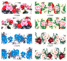 1 sheet Bright-Coloured Peony Water Transfer Nail Art Stickers Decals Full Nail Foils Wraps Manicure Decoration Tools C268-C271