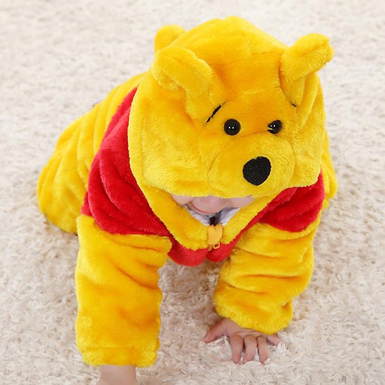 Скидки на Желтый медведь животное младенцы одежда фотография комбинезон