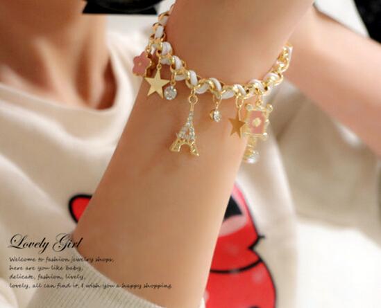 2015 Hot Sale pulseras Lovely Hearts Poker Star Eiffel Tower CZ Diamond Leather Bracelets For Women Jewelry Wholesale Of B182(China (Mainland))