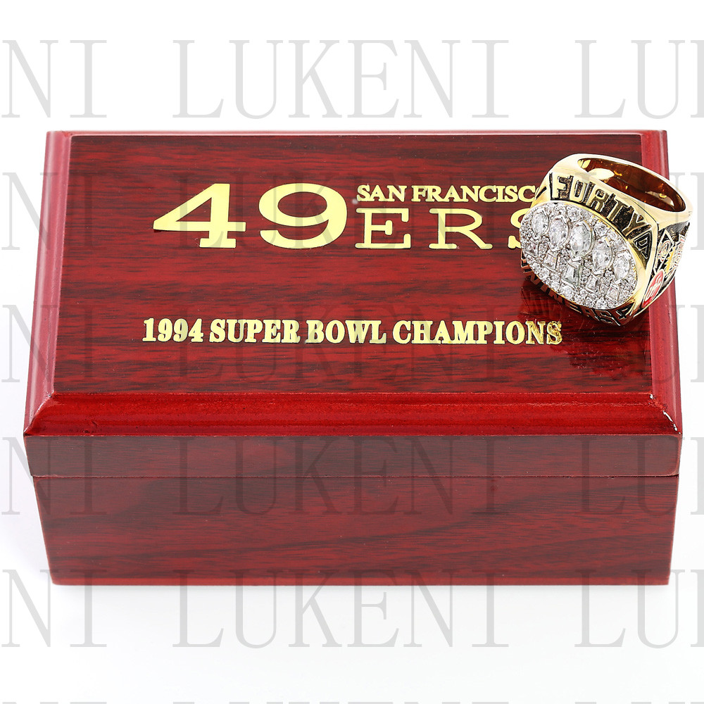 Replica 1994 Super Bowl XXIX San Francisco 49ers Championship Ring Football Rings With High Quality Wooden Box Best Gift LUKENI(China (Mainland))