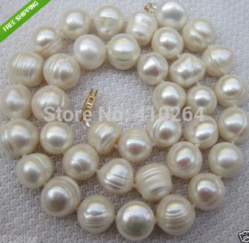 "free shipping $wholesale_jewelry_wig$ free shipping HUGE NEWS 10-12mm SOUTH SEA WHITE BAROQUE PEARL NECKLACE 18""(China (Mainland))"