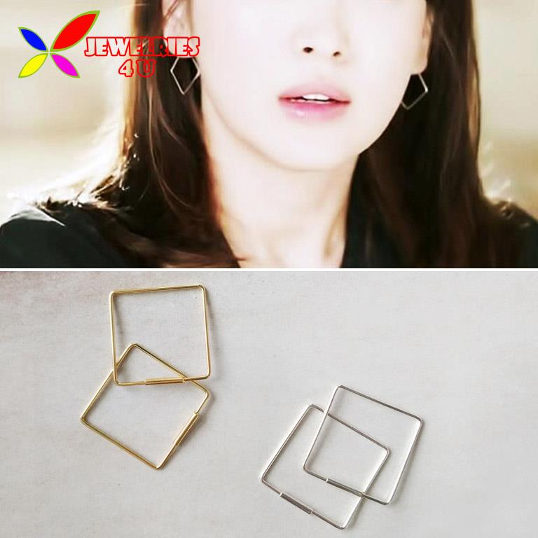 New Geometric Earring Fashion Designer Unfaded Gold Silver Opening Copper Square Simple Stud Earrings For Women Joyas Pendiente(China (Mainland))