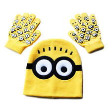 New Children's Cap + Scarf Hat Winter Cartoon Minions Glove Hats Sets Fashion Kids Baby Warm Knitted Caps Gloves Baby Beanies