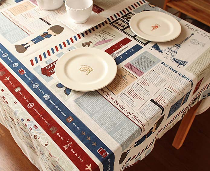 Table Cloth Newspaper Magzine Layout Pattern Paris Eiffel Tower Printed Tablecloth Linen Cotton Table Cover For Home Hotel Party(China (Mainland))