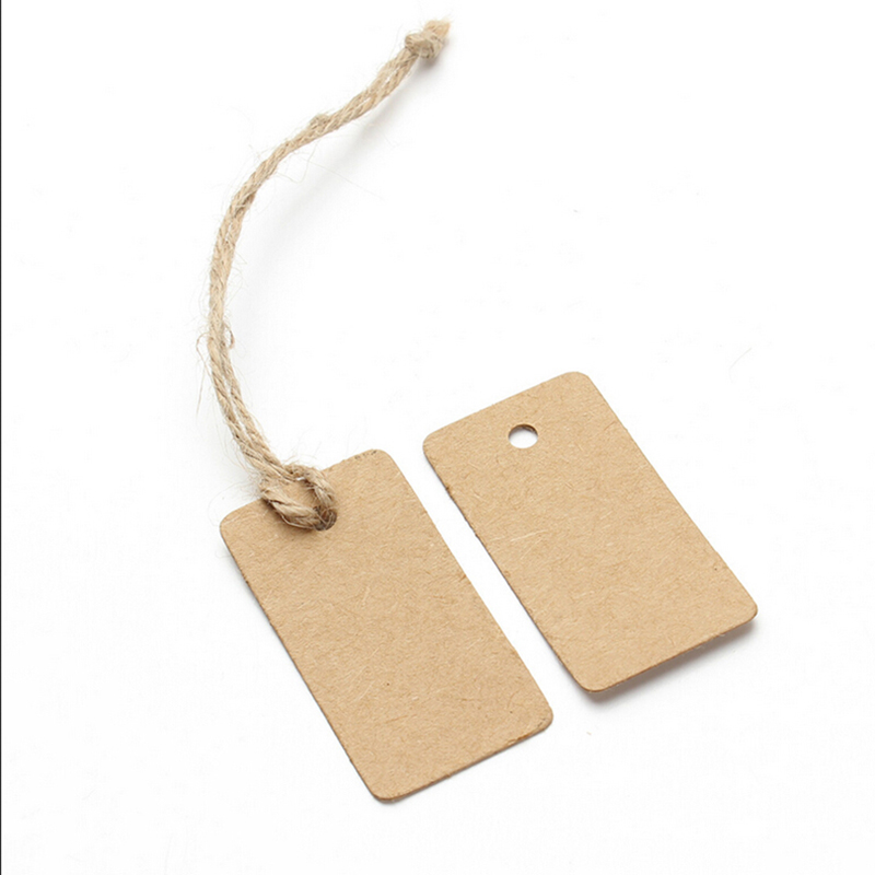 100X Brown Kraft Paper Tags Rectangular Label Luggage Wedding Note DIY Blank price Hang tag Kraft Gift