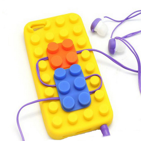 3D Lego Toy Brick Building Block Design Soft Silicone Case Protective Cute Cover Winder Phone holder for iPhone 5 SE 6 6S Plus(China (Mainland))