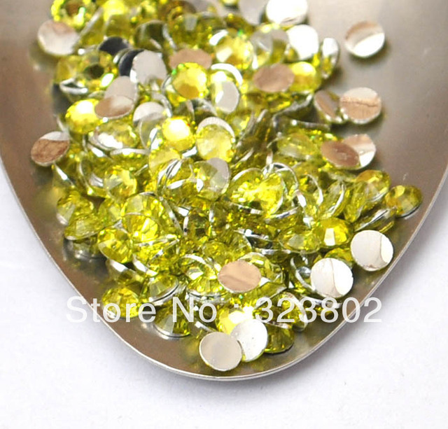 4MM Silver Plated Flatback Jonquil Yellow Acrylic Rhinestone Button Supply for Nail Art Garments Bags Shoes -10,000PCS