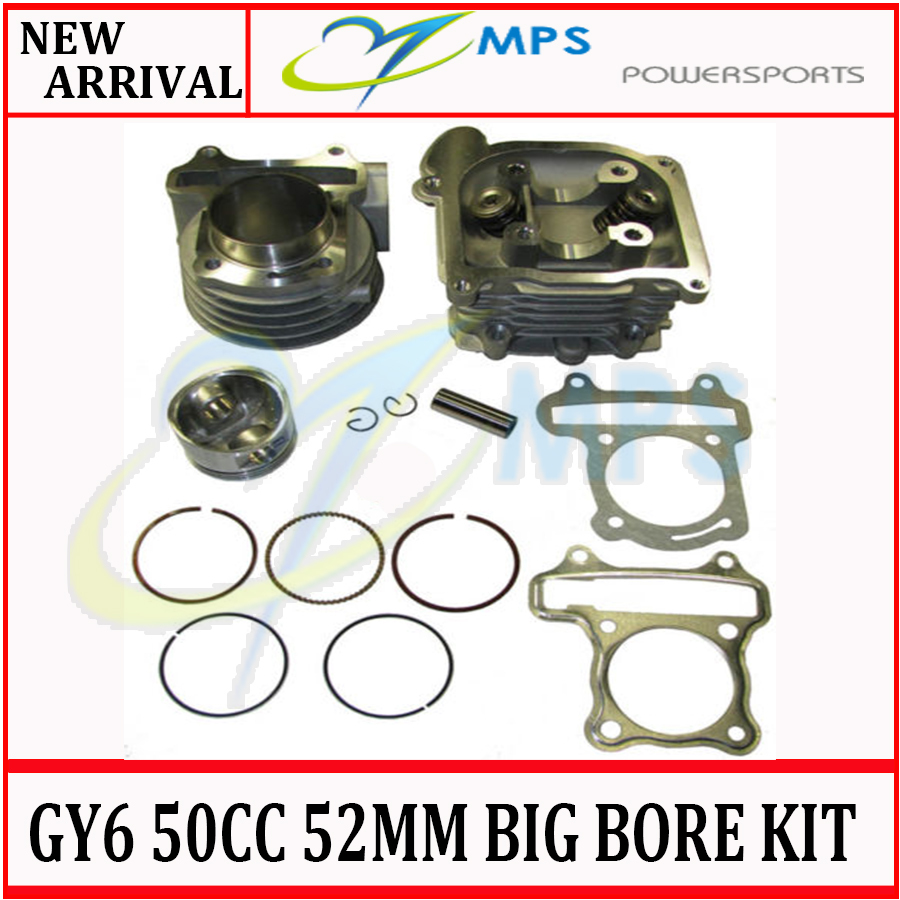 GY6 105cc 52mm big bore cylinder kit cylinder head comp. set with 20*23*64mm valves installed for chinese scooters, atv and quad(China (Mainland))
