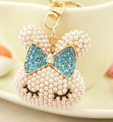 Fashion Accessories Rhinestone Crystal pearl little rabbit cute Key Chains free shipping(China (Mainland))