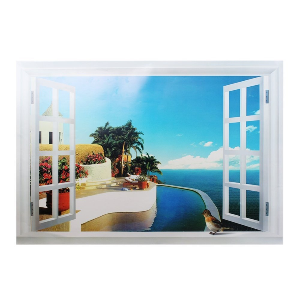 Beach and Fake Windows Design Removable Bed Room Art Mural Vinyl Wall Sticker Decal on Sale E7026(China (Mainland))