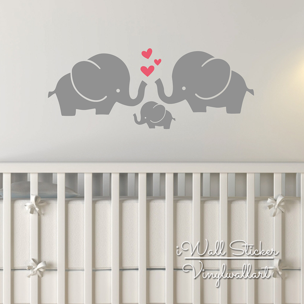 Elephant wall sticker baby nursery elephant wall decal diy for Baby room decoration wall stickers