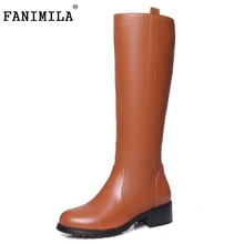 Sexy Women Real Leather Knee Boots Square Heel Shoes Fashion Female Zipper Winter Martin Size 33-44 - Shop1267192 Store store