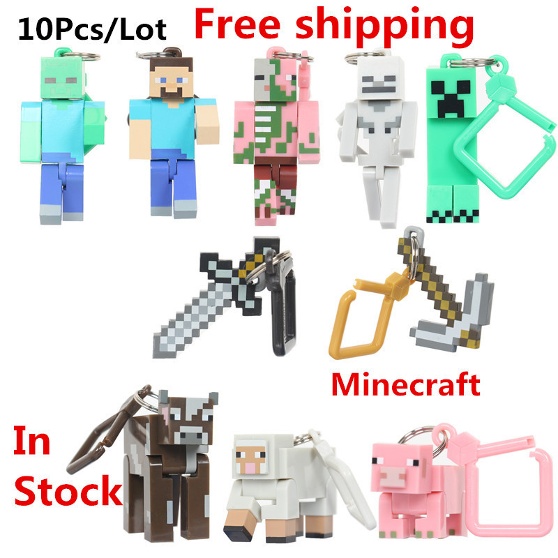 10pcs/lot Minecraft Hanger Creeper Action Figure Backpack Pendants Keychains 3D Models Classic Collection Toys Hot & low price(China (Mainland))