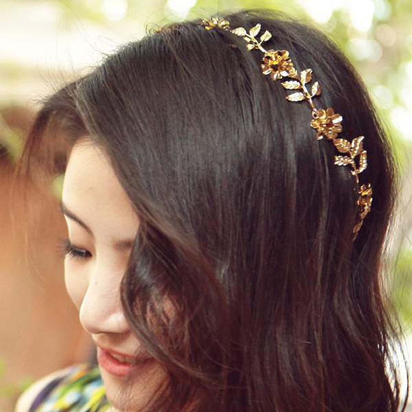 [해외]Lady flowers golden leaves hair band wholesale bouti..