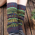 Paisley Socks Winter Knee Protector Leg Sleeves Compression Varicose Harajuku Knitted Leg Warmers Fashion Boot Gaiters
