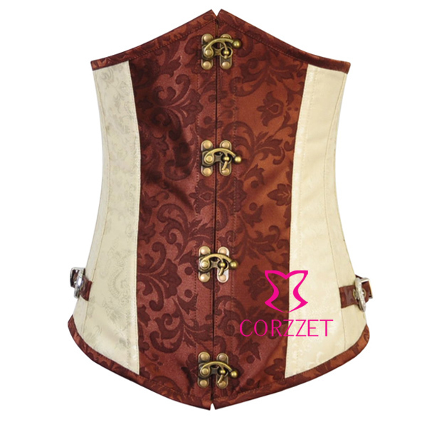 Brown Steampunk Gothic Style Ring Buckle Latex Cincher Waist Training Corset Underbust Bustier Corsets corpetes e