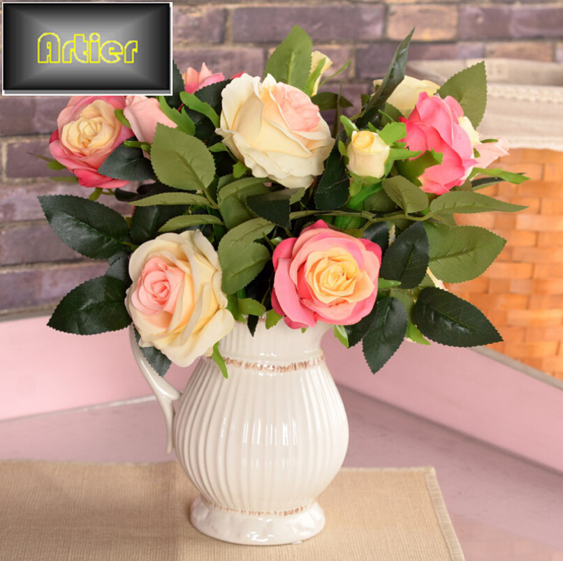 Simulation roses silk flower artificial flowers home decoration flower 2 flower 2 single rose bud circle decoration(China (Mainland))