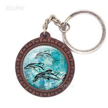 Tartaruga do mar golfinho concha de madeira chaveiro de vidro cabochão jóias feminino homem pingente de carro oceano lembrança chaveiro presente(China)