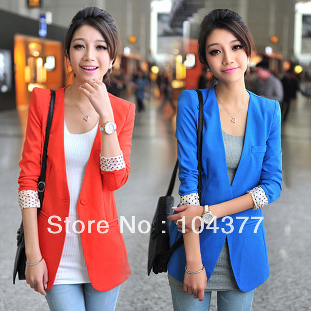 Free shipping!!2013 spring medium-long female blazer outerwear candy color one button collarless blazer OLstly ladie's suit