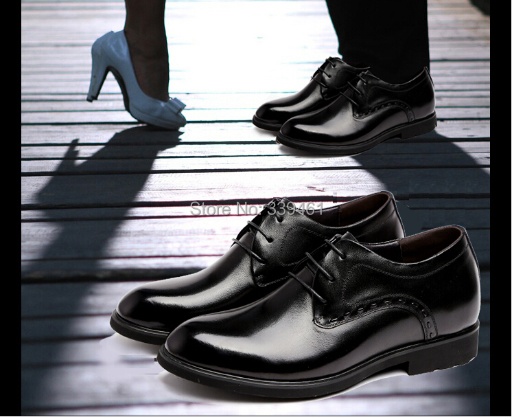 Elevator shoes genuine leather 36-43 elevator 7 cm groom married invisible male - Hello! Go store